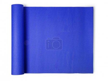Photo for Blue yoga mat Isolated on white background - Royalty Free Image