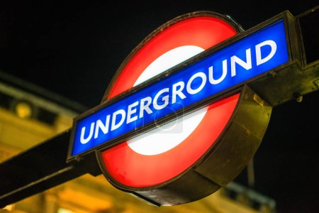 LONDON, UK - 17 FEBRUARY, 2017: London underground sign. The 11 lines collectively handle approximately 4.8 million passengers a day.