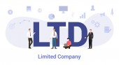 ltd limited time company concept with big word or text and team people with modern flat style - vector