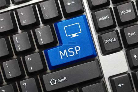 Close-up view on conceptual keyboard - MSP (blue k...