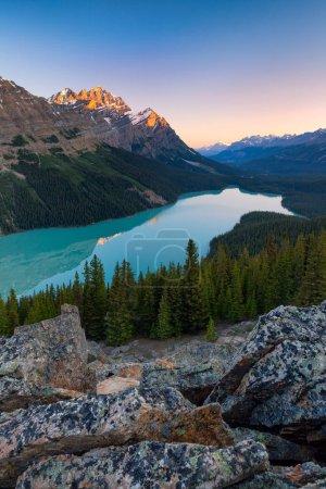 Photo pour Lac Peyto dans le parc national Banff, Alberta, Canada au lever du soleil - image libre de droit