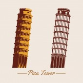 Pisa tower within two designsilhouette and cartoon versionfamo
