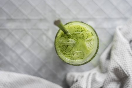 Photo for Iced Matcha Latte in glass, close up - Royalty Free Image