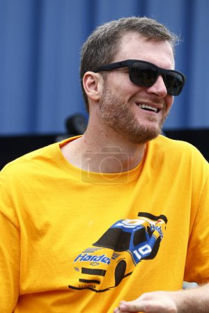 August 10, 2018 - Brooklyn, Michigan, USA: Dale Earnhardt Jr hangs out in the garage during practice for the Consumers Energy 400 at Michigan International Speedway in Brooklyn, Michigan.