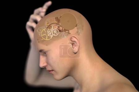 Human x-ray with gears for brains, inspiration concept