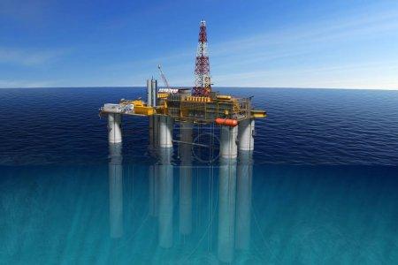 Platforma Nafta w oceanie, wydobycie zasobów paliwowych.