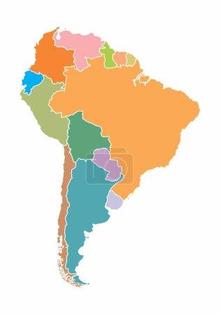 eine bunte Karte von Südamerika auf weißem Hintergrund