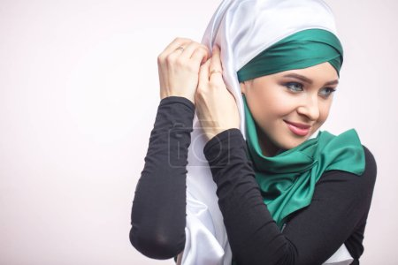 art of tying hijab, headscarf. preparation for nikah. copyspace