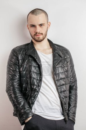 trendy look concept. funky , fashionable jacket for tough guys. close up shot. isolated white background. confidence.