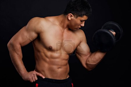 Photo for Sport activity. young sportsman preparing for the contest. close up side view photo - Royalty Free Image