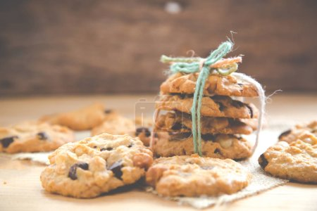 Photo for Delicious Chocolate Chip Cookies with Macadamia integrifolia Cookies on a Tray - Royalty Free Image