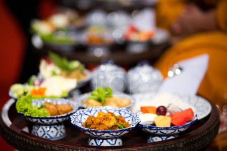 Photo for Food set for offering to Buddhist monks in Thailand culture - Royalty Free Image