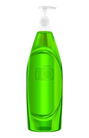 Photo pour Vert bouteille en plastique avec un détergent à lessive liquide - image libre de droit