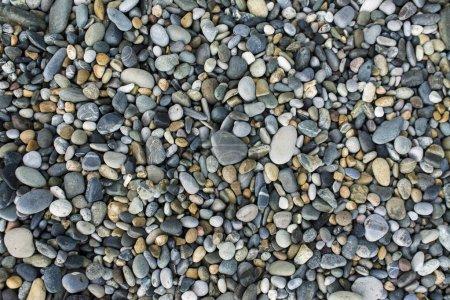 Photo pour Fond de galets de mer, petites pierres sur la plage - image libre de droit
