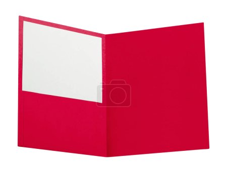 red folder isolated on white, close up