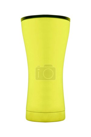 yellow plastic cup isolated, close up