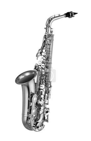Photo pour Saxophone isolé sur fond blanc - image libre de droit