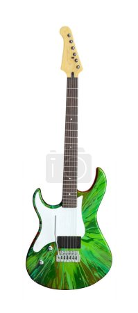 Green Electric Guitar Isolated on White