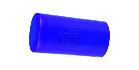 blue cylinder on white background, close up
