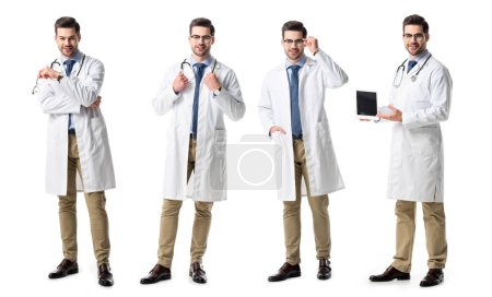 Photo for Collage of handsome doctor in white coat holding digital tablet, glasses and stethoscope isolated on white - Royalty Free Image