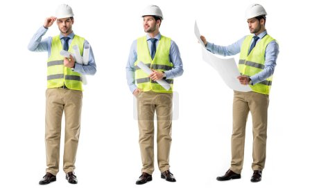 Photo for Collage of handsome architect wearing green vest and hardhat with blueprints isolated on white - Royalty Free Image