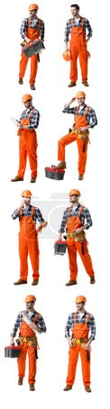 Photo for Collage of handsome repairman in orange uniform holding tool case, blueprints  and talking on smartphone isolated on white - Royalty Free Image