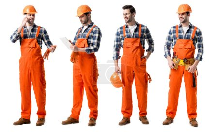Photo for Collage of handsome repairman in orange uniform writing in notebook and talking on smartphone isolated on white - Royalty Free Image