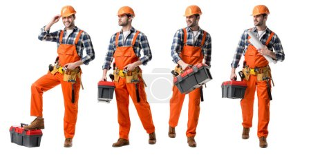 Photo for Collage of handsome repairman in orange uniform holding tool case and blueprints isolated on white - Royalty Free Image