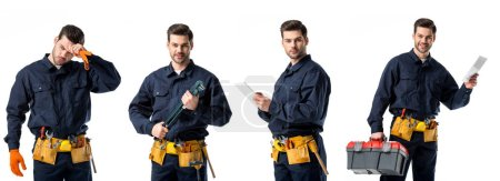 collage of handsome plumber in blue uniform wiping forehead, holding notebook and tools isolated on white