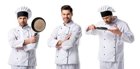 Photo for Collage of handsome chef in white uniform smiling and holding frying pan isolated on white - Royalty Free Image