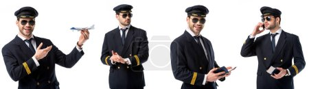 Photo for Collage of handsome pilot in black uniform holding toy plane, passport and talking on smartphone isolated on white - Royalty Free Image