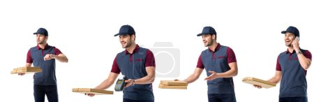 Photo for Collage with handsome pizza deliveryman in blue uniform holding pizza boxes, terminal and talking on smartphone isolated on white - Royalty Free Image