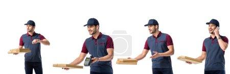 Photo pour Collage avec le livreur de pizza beau en uniforme bleu, boîtes de pizza, terminal et parlant sur smartphone isolé sur blanc - image libre de droit