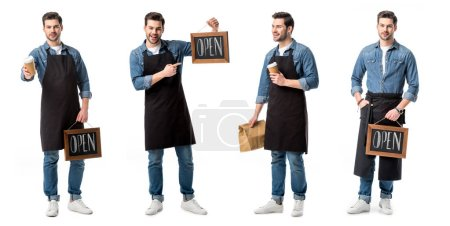 Photo for Collage of handsome salesperson in apron holding sign, cup of coffee and paper bag isolated on white - Royalty Free Image