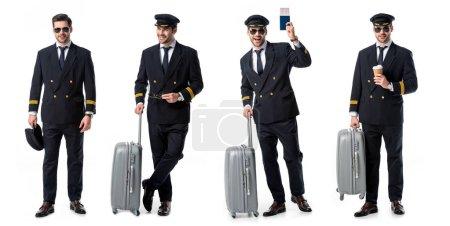 Photo pour Collage de beau pilote en uniforme noir debout avec valise, passeport et tasse de café isolé sur blanc - image libre de droit