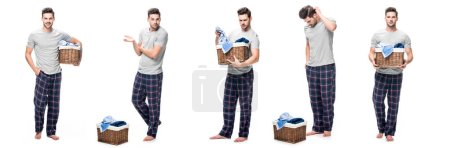 collage of handsome young man in pajama looking and holding laundry basket isolated on white