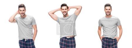 Photo pour Collage de beau jeune homme relaxant en pyjama debout et souriant isolé sur blanc - image libre de droit