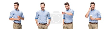 Photo for Collage of handsome office worker in blue shirt and beige pants looking at watch, drinking coffee and talking on smartphone isolated on white - Royalty Free Image