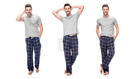 Photo for Collage of handsome relaxing young man in pajama standing and smiling isolated on white - Royalty Free Image