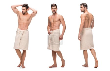 Photo for Collage of handsome young man wrapped lower body with towel, upper body without clothes isolated on white - Royalty Free Image