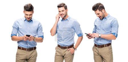 Photo pour Collage de beau employé de bureau en chemise bleue parlant et regardant sur smartphone, écoutant de la musique isolée sur blanc - image libre de droit