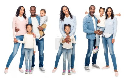 Collage of african american family isolated on white