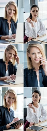 Photo for Collage of businesswomen using gadgets at workplace in office - Royalty Free Image