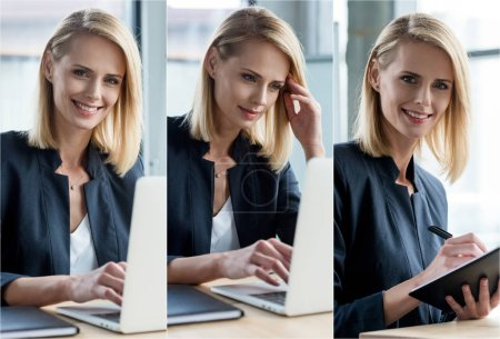 Photo for Collage of businesswoman using laptop at workplace in office - Royalty Free Image