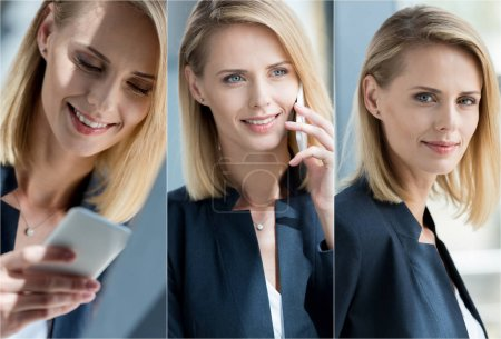 Photo for Collage of young blonde businesswoman talking on smartphone at workplace in office - Royalty Free Image