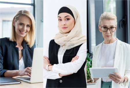 collage of different nationalities and age businesswomen using gadgets at workplace in office