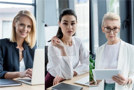 Photo for Collage of different age businesswomen using gadgets at workplace in office - Royalty Free Image