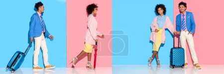 Photo for Collage of young african american man and woman with suitcase and umbrella on blue and pink background - Royalty Free Image