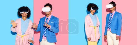 Photo for Collage of young african american man and woman having fun with virtual reality headset on blue and pink background - Royalty Free Image