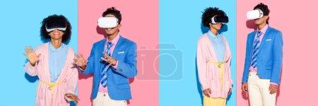 Photo pour Collage de jeune homme et femme afro-américain s'amusant avec casque de réalité virtuelle sur fond bleu et rose - image libre de droit